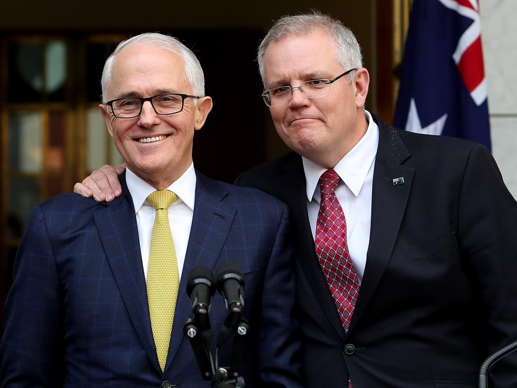 Scott Morrison voices his support for Malcolm Turnbull just days before the prime minister was knifed. Picture: Kym Smith