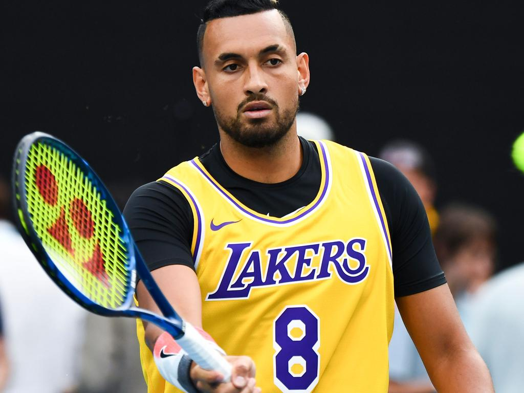 Nick Kyrgios did the whole warm up in the singlet.