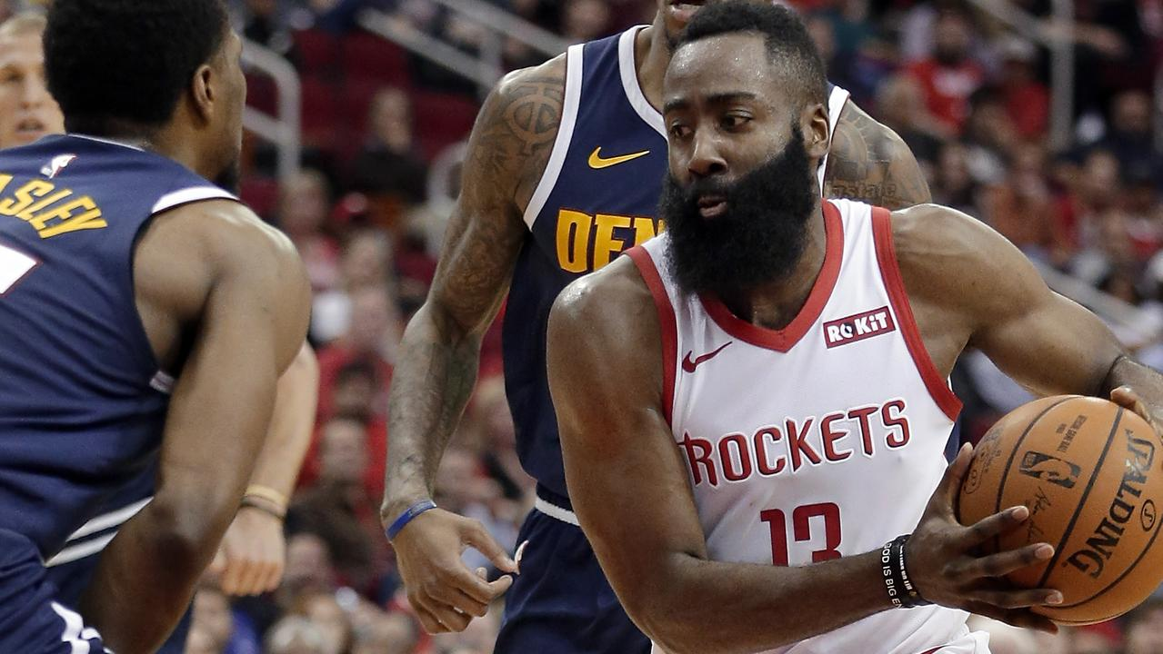 James Harden was once again unstoppable against the Denver Nuggets. Picture: Michael Wyke/AP.
