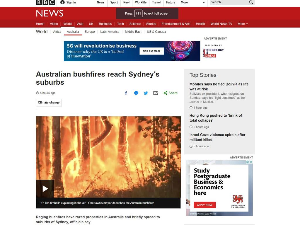 BBC News reported on the fire reaching the outskirts of Sydney. Picture: Supplied