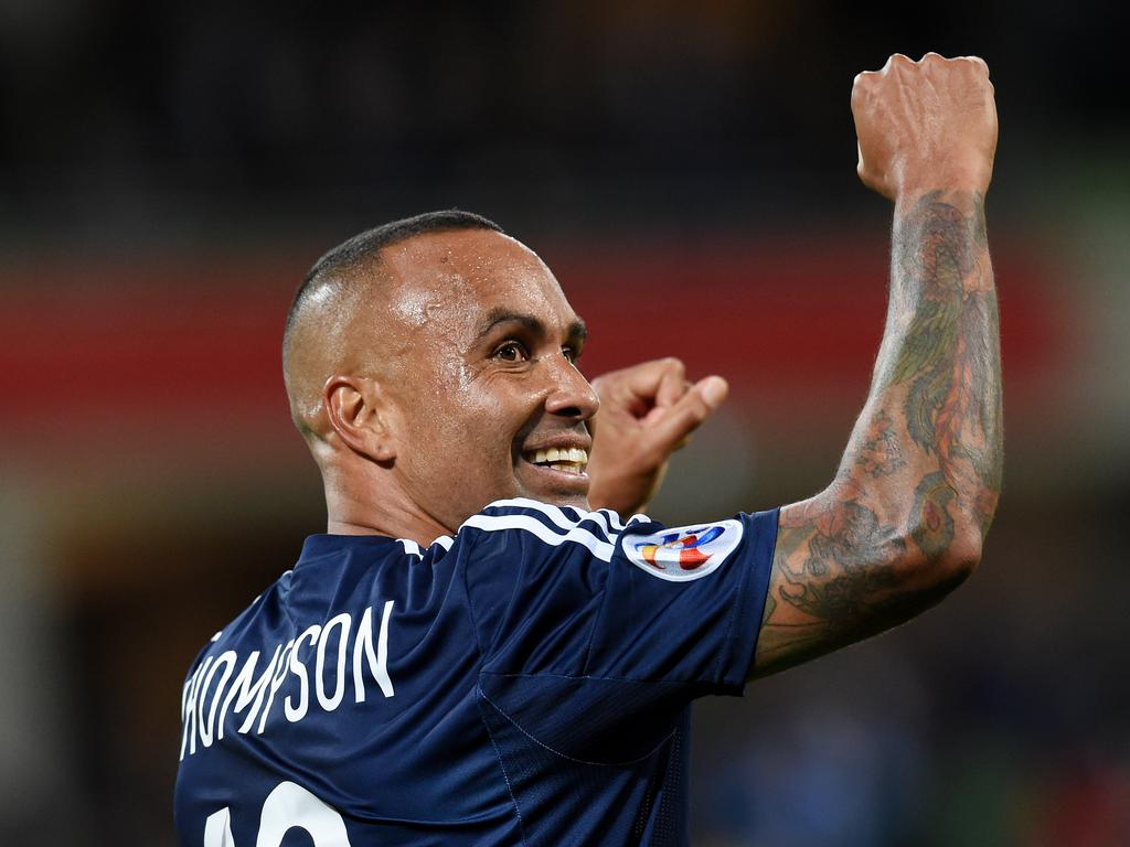 Archie Thompson celebrates during his Melbourne Victory career. Picture: AAP Image/Tracey Nearmy
