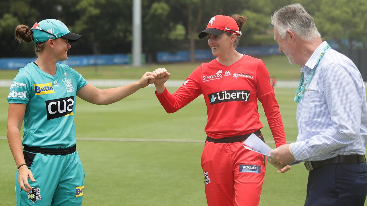 Amy Satterthwaite of the Renegades and Jess Jonassen of the Heat bump fists before their WBBL clash. Picture: Mark Metcalfe/Getty Images