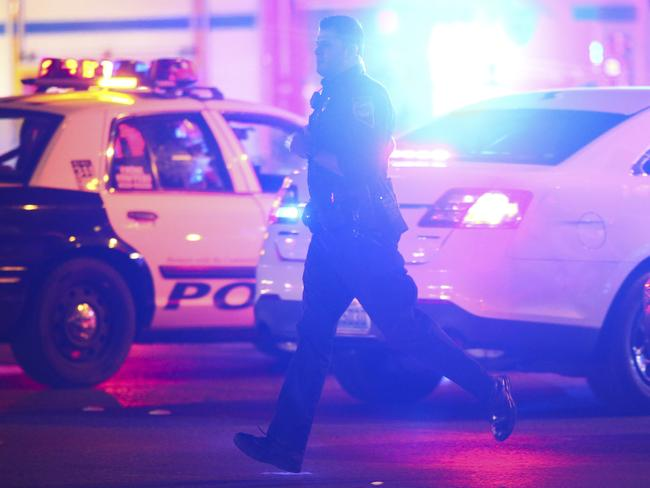 Las Vegas police respond during an active shooter situation on the Las Vegas Strip. Picture: Chase Stevens/Las Vegas Review-Journal via AP