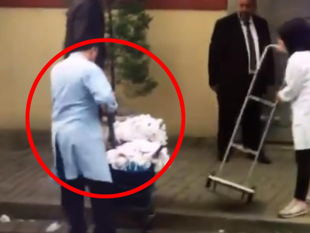 Cleaners were spotted entering the Saudi embassy in Instanbul not long before investigators commenced their search. Picture: Jamal Elshayyal/Twitter Source:Twitter