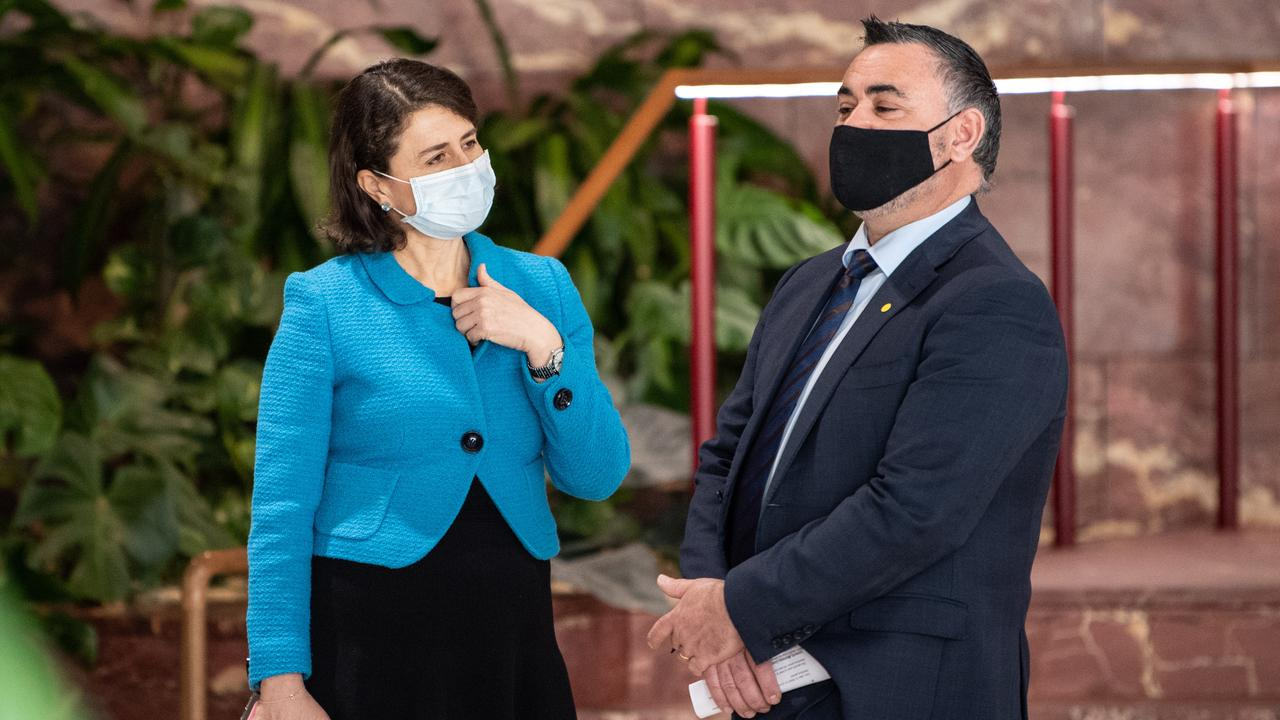 NSW Premier Gladys Berejiklian and NSW Deputy Premier John Barilaro speaking after a COVID-19 update press conference in Sydney. Picture: NCA NewsWire / James Gourley