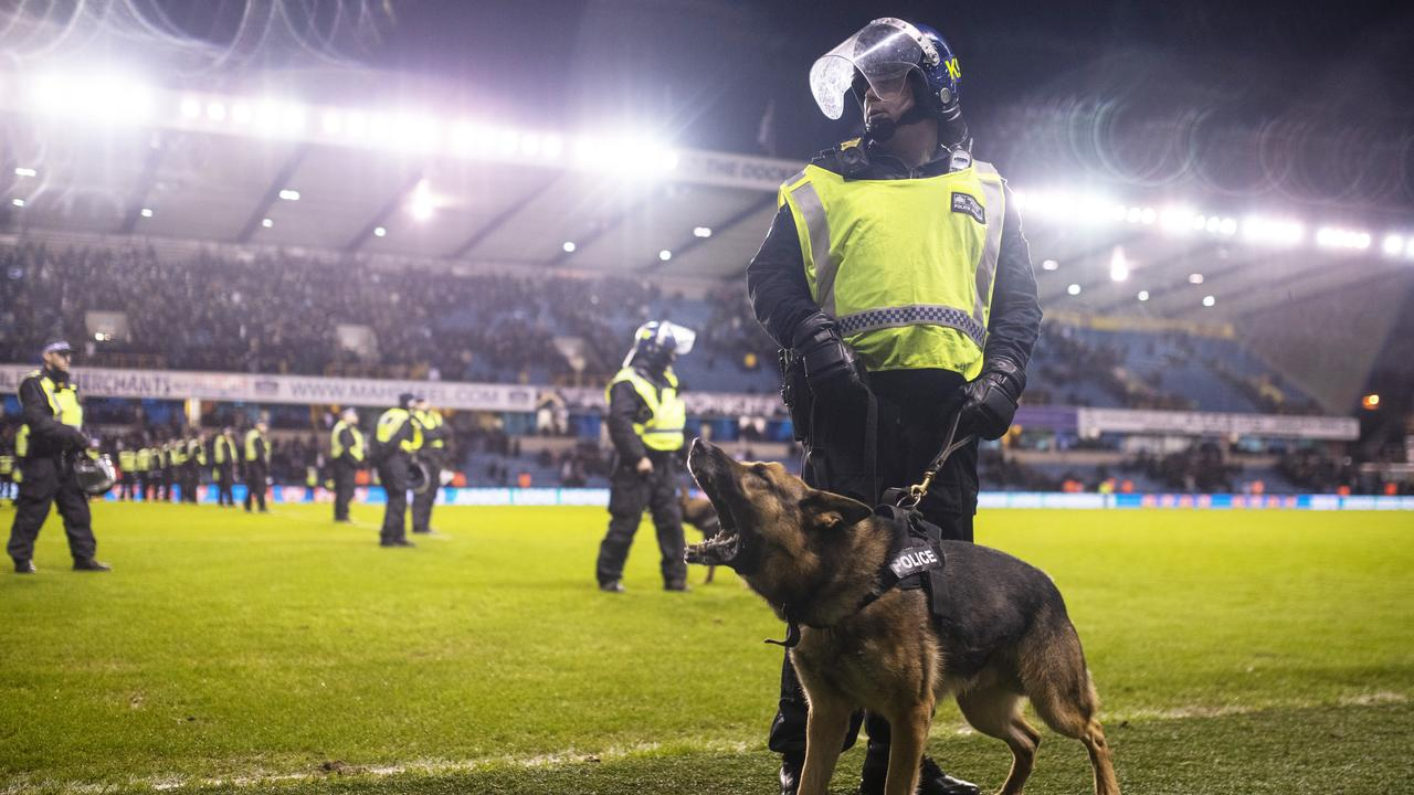 A man has been slashed in face as fan violence broke out before Millwall vs Everton.