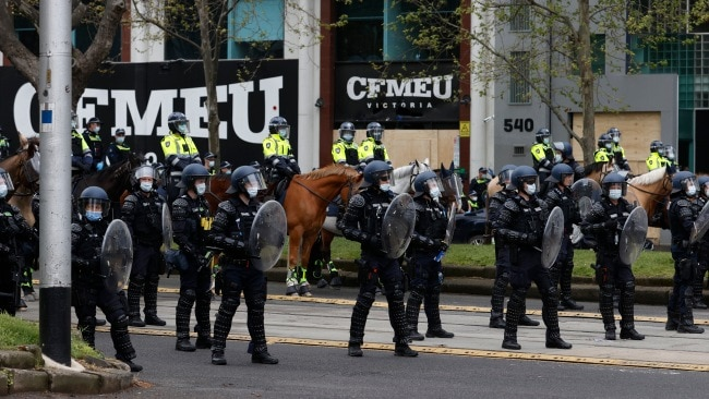 Police outside the CFMEU building in Melbourne after a second day of violent protests in the city. Picture: Alex Coppel