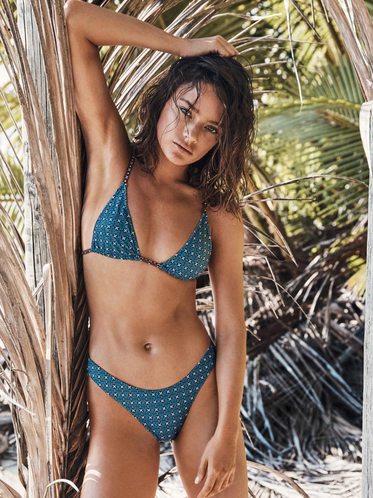 Zareen Mischa triangle bikini top blue, $80, Zareen elle bikini bottom blue, $80. tigerlilyswimwear.com.au