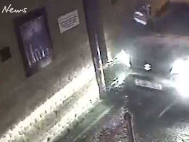 A door man, top left, is struck as the car speeds down an alleyway leading to the marquee. Picture: Supplied