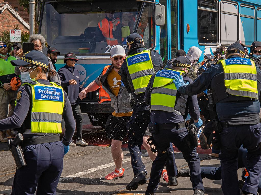 Protesters in Richmond clashing with police. Picture: Jason Edwards