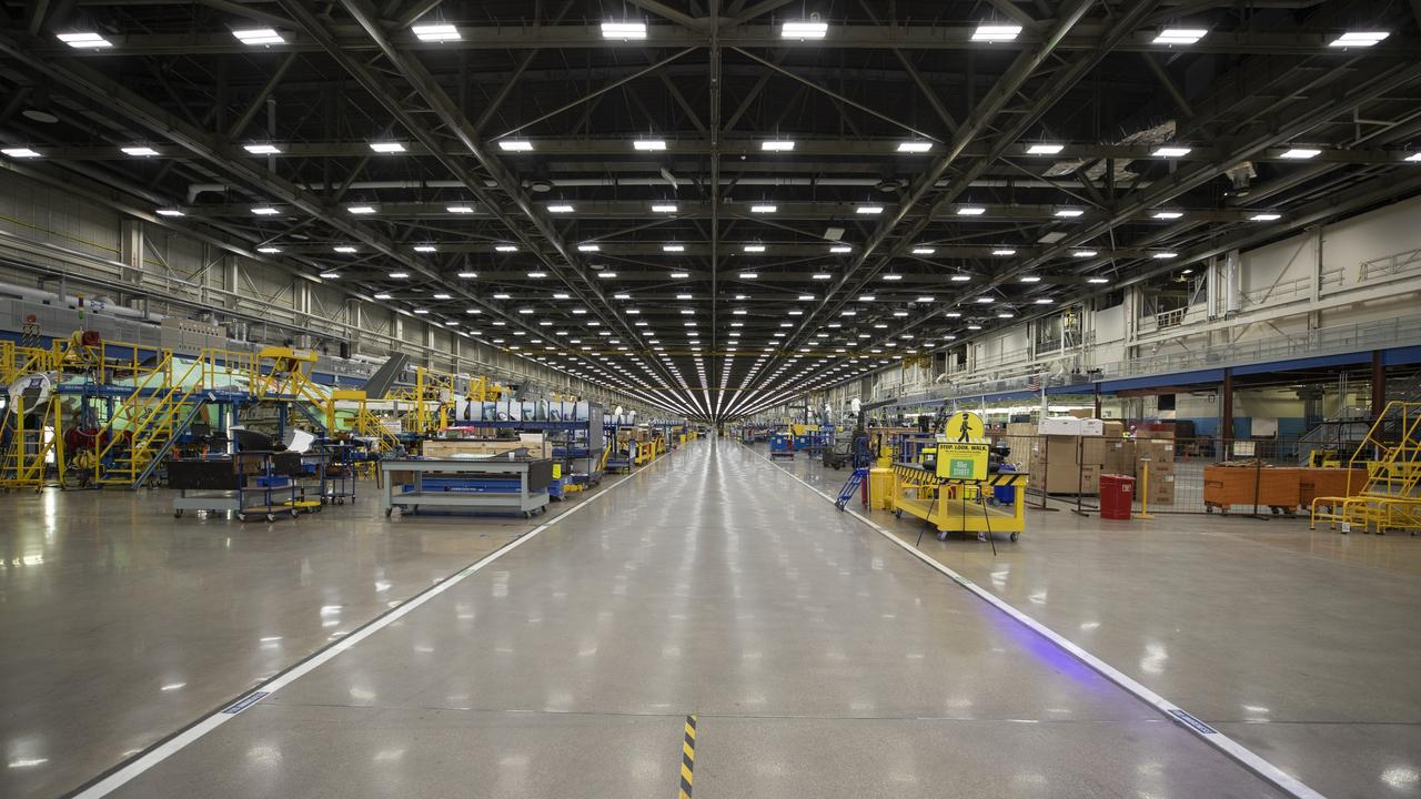 The massive factory where Lockheed Martin assemble the F-35 fighter jet is so vast they use golf carts to get around. Picture: Lockheed Martin.