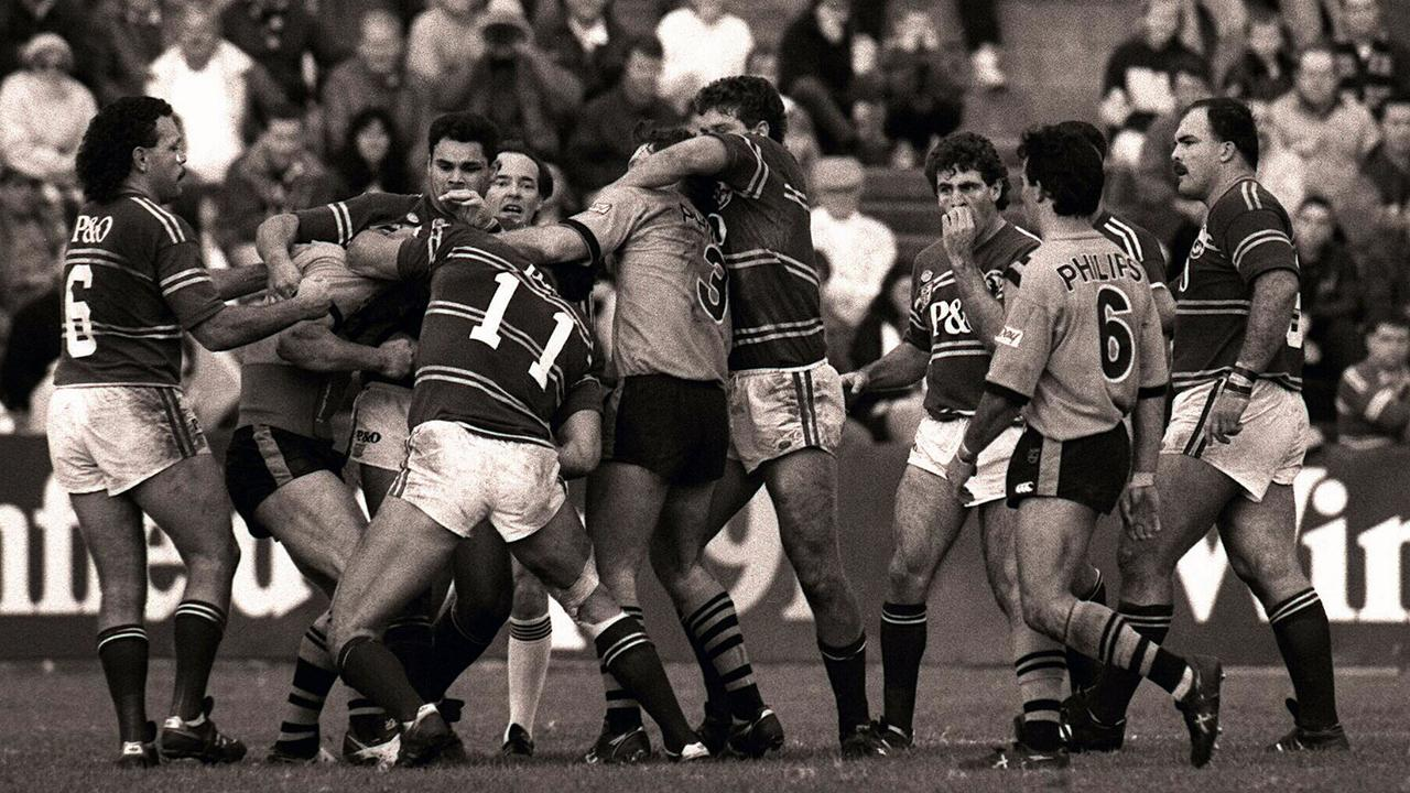 The Manly and Balmain on-field brawl at Leichhardt Oval in 1991.