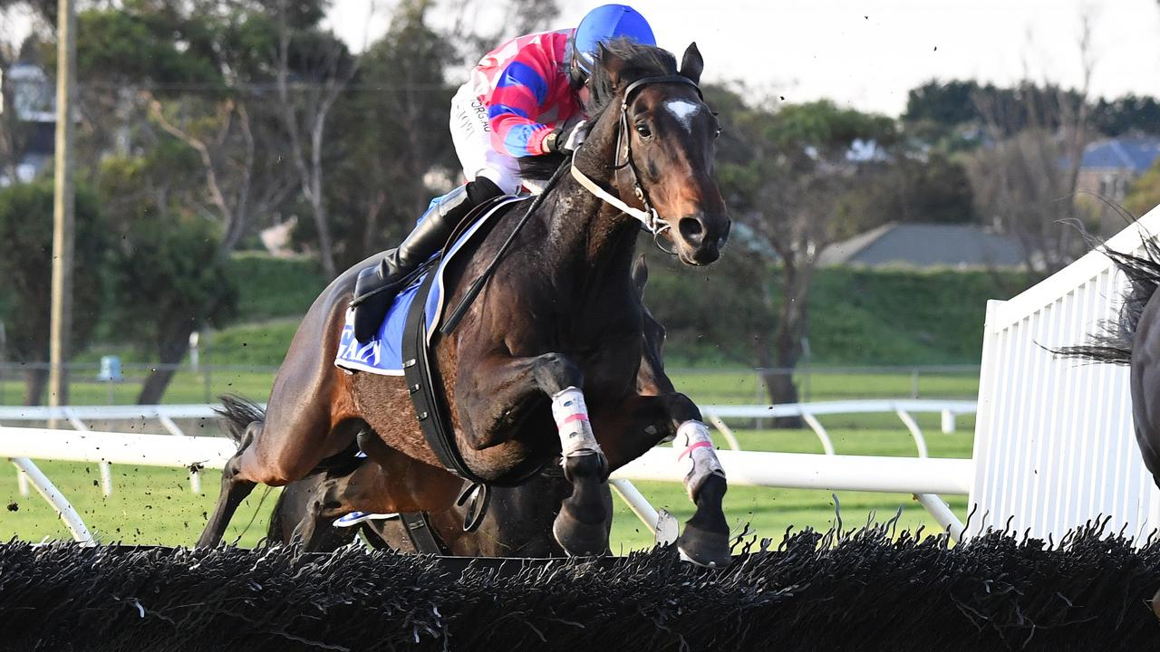 Jockey Ronan Short snared his first Warrnambool carnival winner with Gobstopper in the Galleywood Hurdle. Picture: AAP