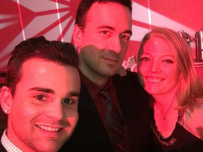 Chris, 38 and Matt Brandt, 28, with girlfriend, Cait Earnest, 28. Picture: Facebook