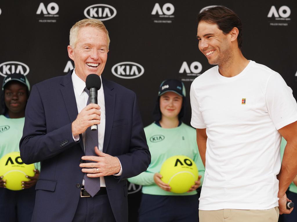 Raphael Nadal meets Craig Tiley last summer.