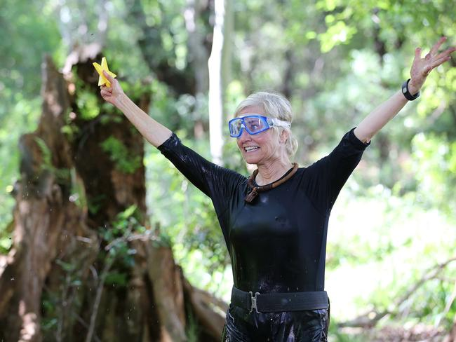 Three stars .. Maureen McCormick triumphs in the Tucker Trial in I'm A Celebrity Get Me Out Of Here. Picture: Channel 10