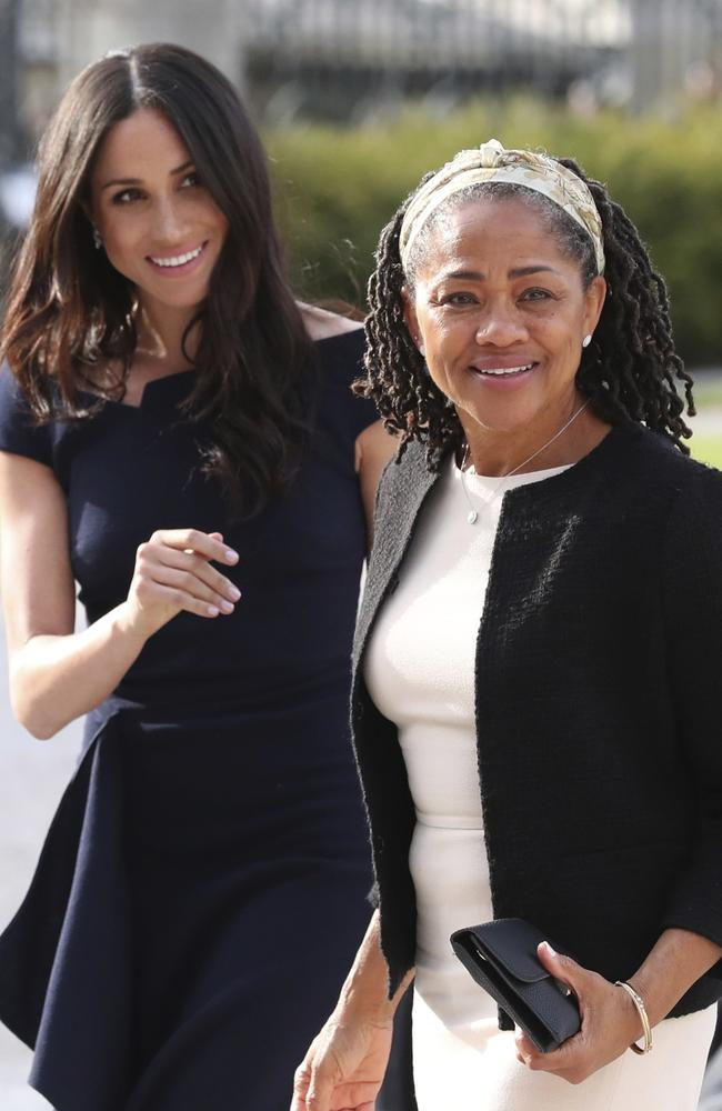 Meghan Markle and her mother, Doria Ragland, arrive at Cliveden House Hotel, in Berkshire. Picture: Steve Parsons/Pool Photo via AP