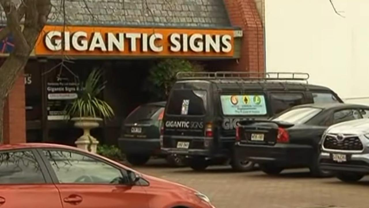 Gigantic Signs on King William St at Kent Town. Picture: Channel 7