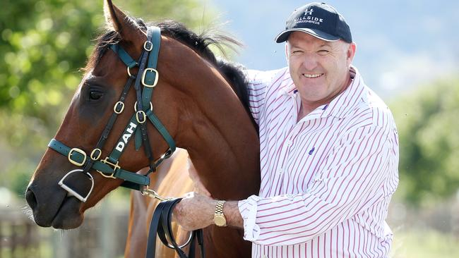 Black Caviar's daughter Oscietra with trainer David Hayes at Lindsay Park, Euroa. Picture: Michael Klein