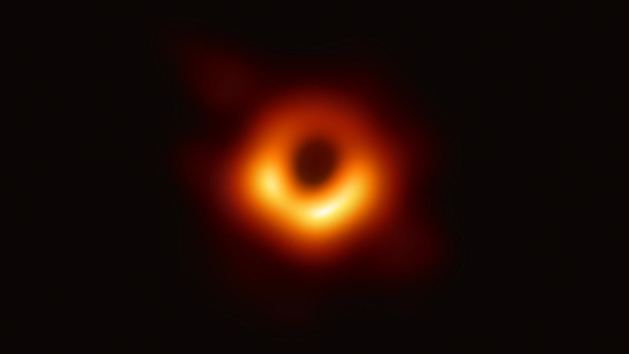 The first photograph of a black hole and its fiery halo, released by Event Horizon Telescope astronomers. Picture: AFP / EUROPEAN SOUTHERN OBSERVATORY