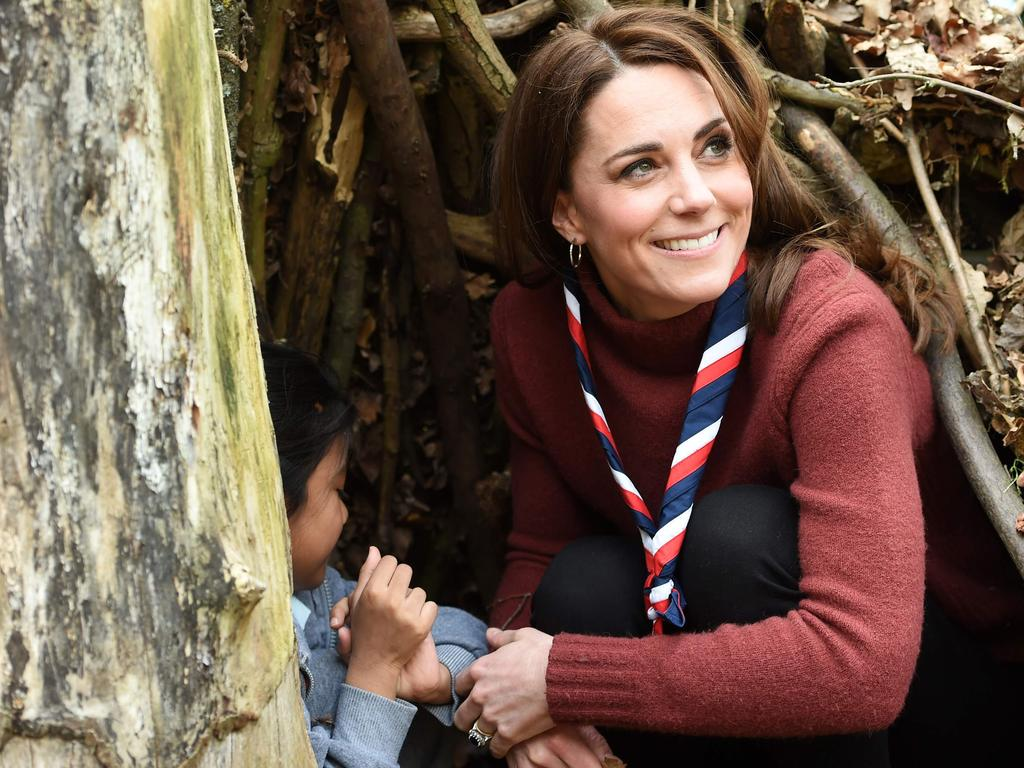 Kate wasted no time in joining in on activities. Picture: AFP