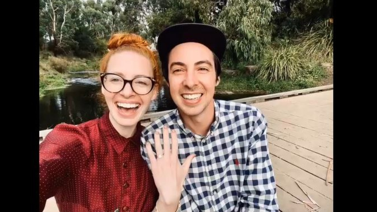 Emma and her fiance show off her new engagement ring.
