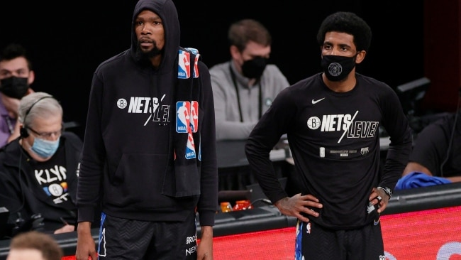 The Brooklyn Nets are at a major loss with the banning of Kyrie Irving who makes up the side's star trio with Kevin Durant and James Harden. Picture: Sarah Stier/Getty Images