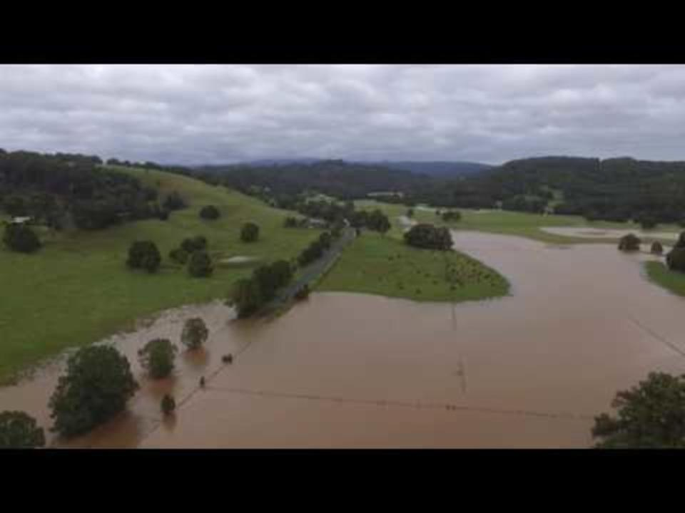 Drone Footage Shows Floodwaters Covering Roads North of Lismore