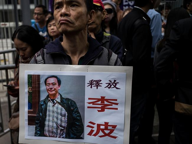 People take part of the rally on January 10, 2016 in Hong Kong, Hong Kong. The disappearance of five Hong Kong booksellers. Picture: Lam Yik Fei