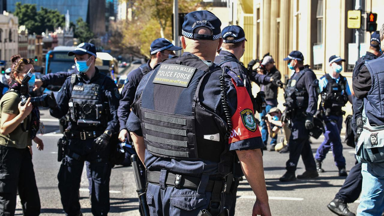 Police outnumbered protesters in Sydney where a rally was due to start at noon at Victoria Park, near Broadway. Picture: NCA NewsWire/Flavio Brancaleone