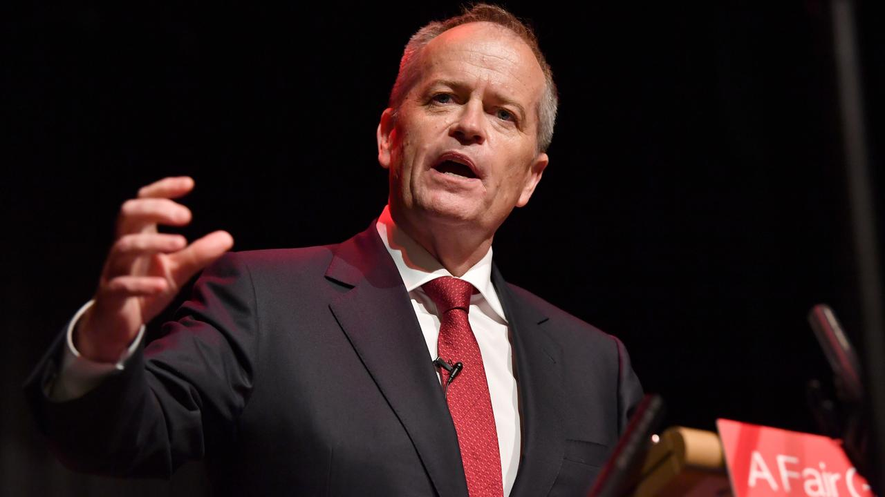 Bill Shorten addressed a Labor Party campaign rally at Box Hill Town Hall in Melbourne. Picture: AAP