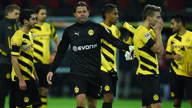 Dortmund's goalkeeper Roman Weidenfeller reacts.