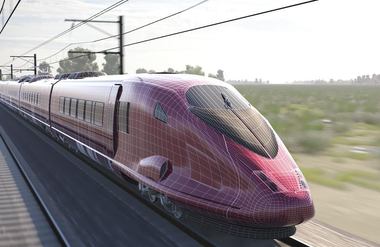 An artist's impression of proposed bullet train to run between Darwin and Adelaide.