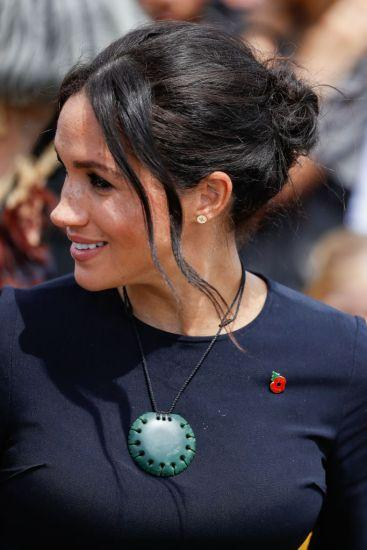 ROTORUA, NEW ZEALAND - OCTOBER 31: Meghan, Duchess of Sussex wearing tradional Maori greenstone necklace given to her at Te Papaiouru Marae on October 31, 2018 in Rotorua, New Zealand. The Duke and Duchess of Sussex are on their official 16-day Autumn tour visiting cities in Australia, Fiji, Tonga and New Zealand. (Photo by Chris Jackson/Getty Images)