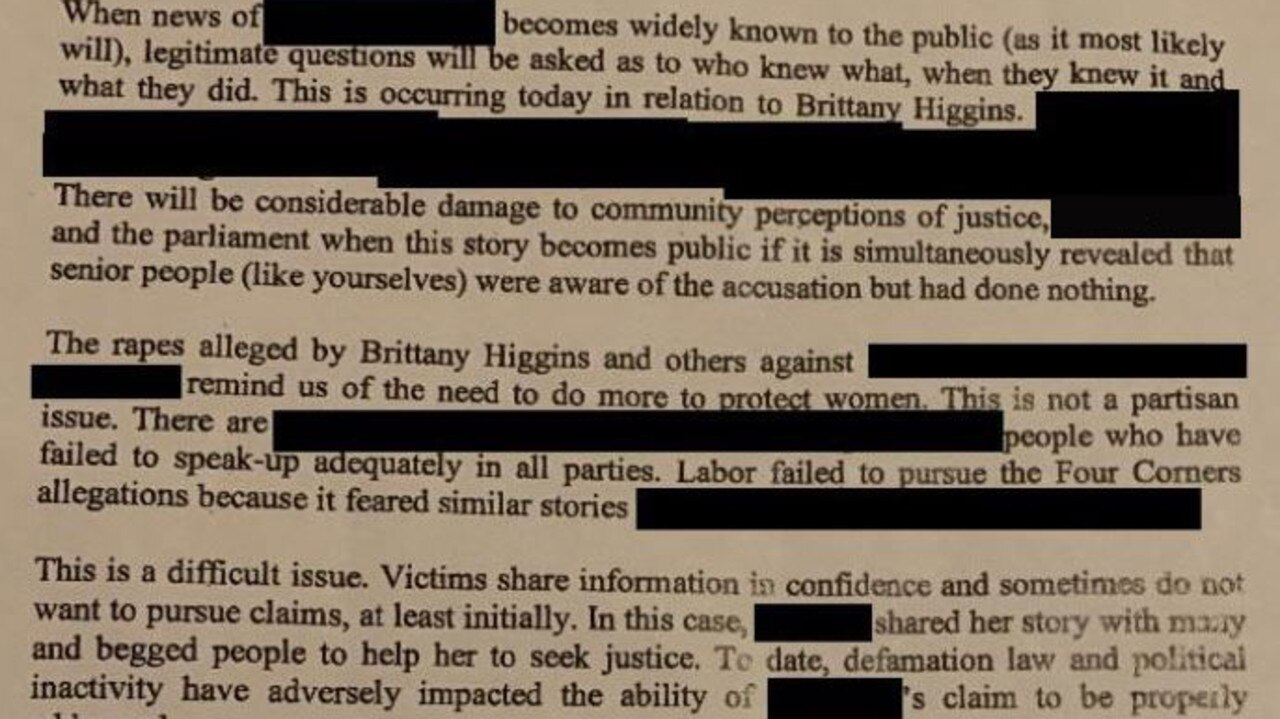 The anonymous letter sent to Prime Minister Scott Morrison was penned by 'friends' of a dead woman who was allegedly raped by a Minister. Picture: Supplied