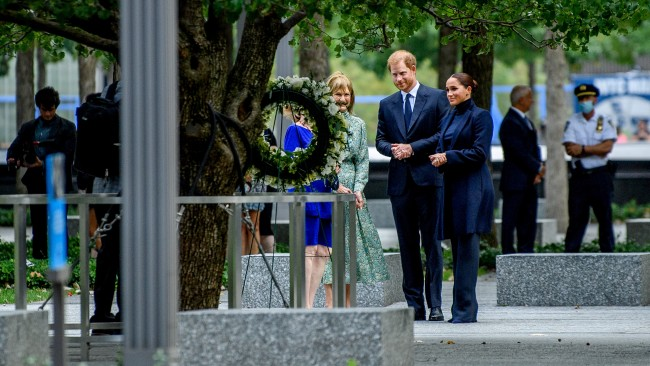 Meghan Markle and Prince Harry were dressed in sombre colours as they visited the 9/11 Museum on New York on Thursday. Picture: Ray Rochlin/Getty Images