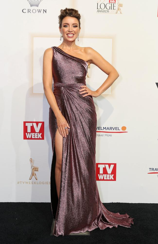 Dannii Minogue in her Logies gown with a thigh high split. Picture: Julie Kiriacoudis