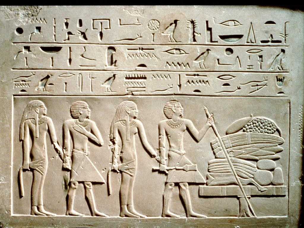 Undated.  Hieroglyphics ancient drawings art inscriptions found in the tomb of Pharaoh Tutankhamen. king egypt archaeology