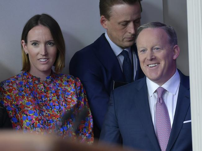 Sean Spicer was in more of a jovial mood on Tuesday than in his combative press conference on the weekend. Picture: AP