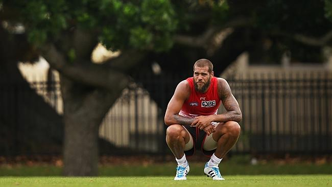 Franklin takes time out at training. Picture: Phil Hillyard