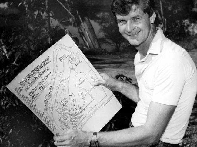Mal Leyland, one half of the legendary Leyland brothers, with site plans for the Leyland Brothers World amusement park in 1985. Picture: News Corp