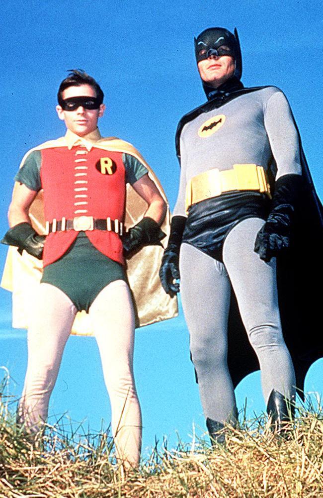 Actor Burt Ward as Robin and Adam West as Batman in 1960s TV show Batman. Picture: Supplied.