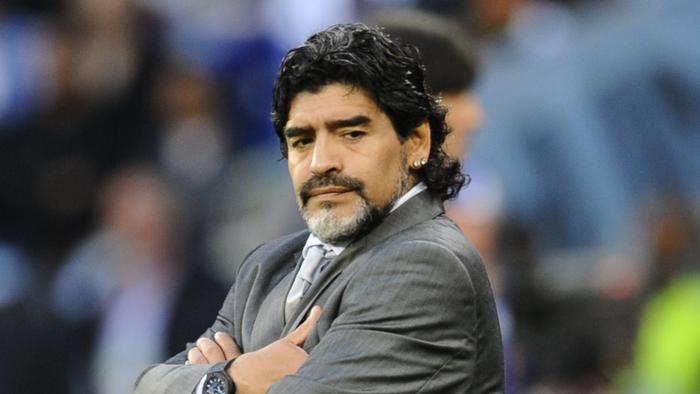 Argentina's coach Diego Maradona gestures during Argentina v Germany in the 2010 World Cup quarter final at Green Point stadium in Cape Town, South Africa, 03/07/2010.