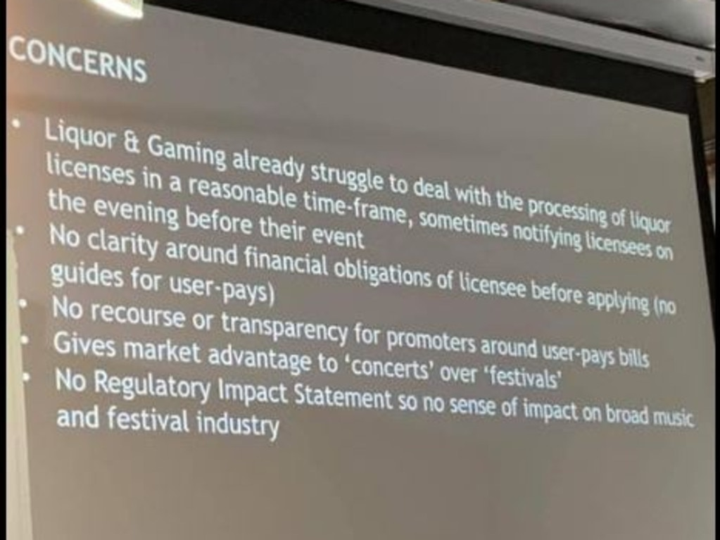 Slides from a meeting last night were presented to concerned festival stakeholders in Redfern.