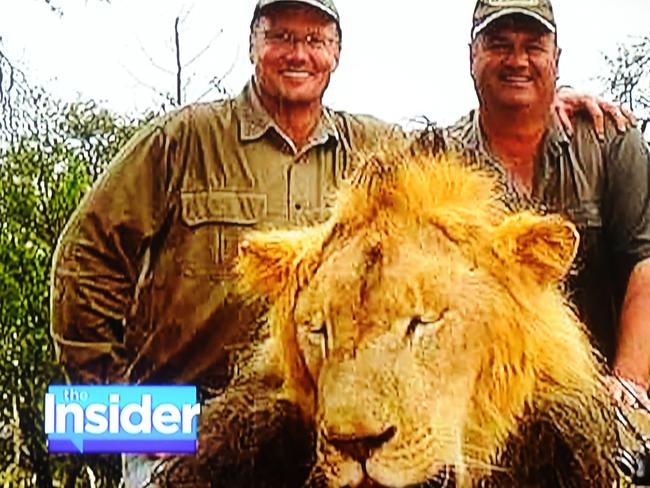 Trophy hunters Walter Palmer and friend is accused of killing Cecil, a beloved lion, in Zimbabwe. Photo by Dennis Van Tine/ABACAUSA.COM.
