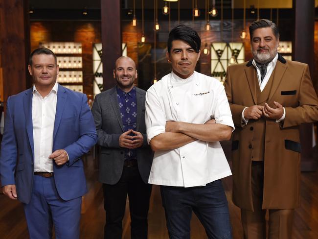 Brisbane's acclaimed chef Josue Lopez with MasterChef's judges Gary Mehigan, George Calombaris, and Matt Preston. Picture: Channel 10
