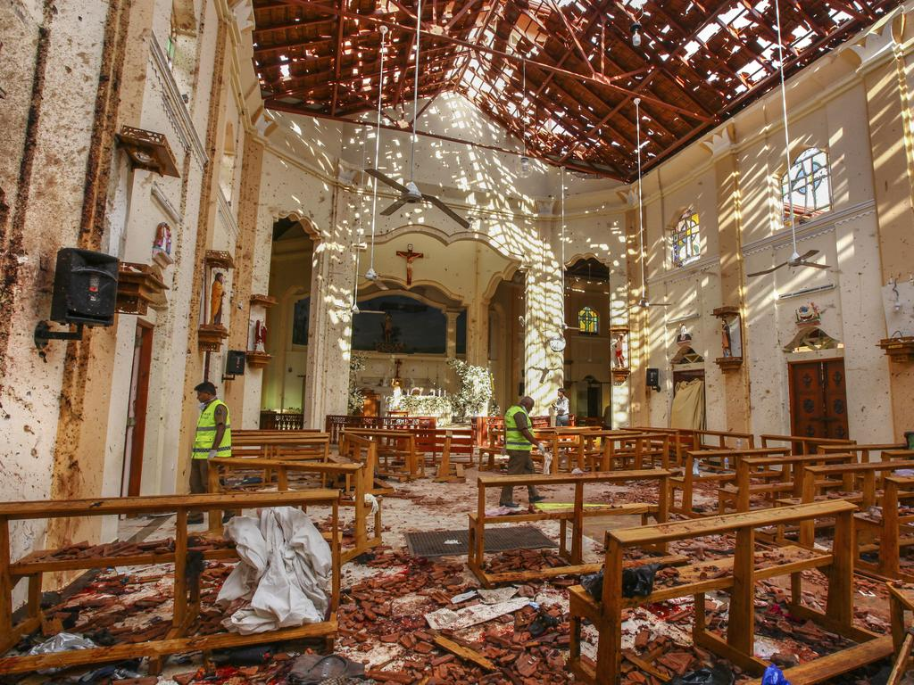 A view of St. Sebastian's Church in Negombo after the bombing. Picture:/Chamila Karunarathne/AP