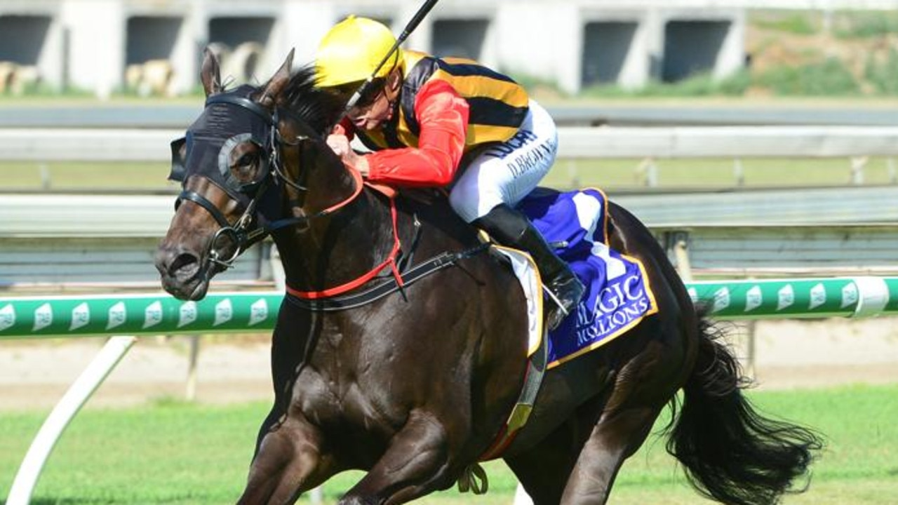 Damian Browne steers Boomsara to victory in the Vo Rogue Plate. Picture: Trackside Photography