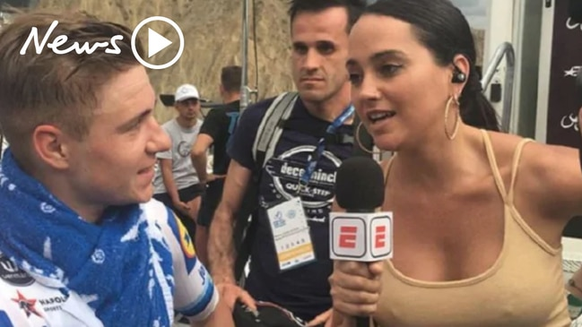 Outrage after cyclist's crude comments about a female reporter's top