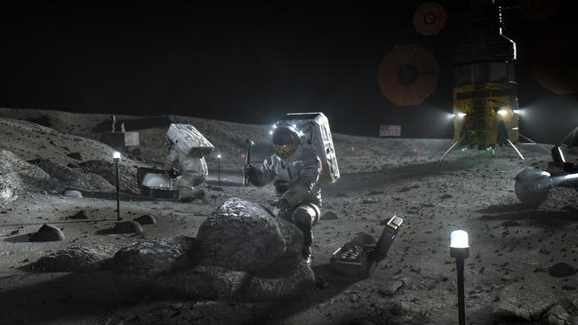 Artist's illustration of Artemis astronauts working on the Moon. Picture: NASA